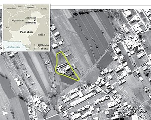 English: Aerial view of Osama bin Laden's comp...