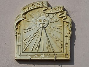 "Sundial with the motto ""Carpe Diem"",..."
