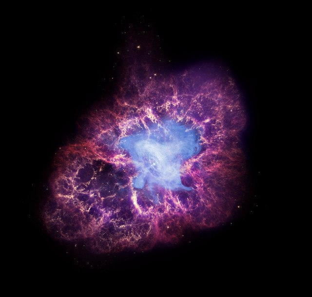 Chandra (X-ray), Hubble (optical), and Spitzer (infrared) composite image of the Crab Nebula. Credit : X-ray: NASA/CXC/SAO/F.Seward; Optical: NASA/ESA/ASU/J.Hester & A.Loll; Infrared: NASA/JPL-Caltech/Univ. Minn./R.Gehrz.