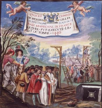 Français : Exécution de Gilles de Rais (gibet ...