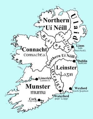English: png map of Ireland circa 900, with ov...