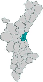 Localización de la Huerta de Valencia respecto de la Comunidad Valenciana