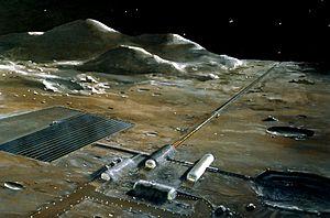 A lunar base with a mass driver (the long stru...