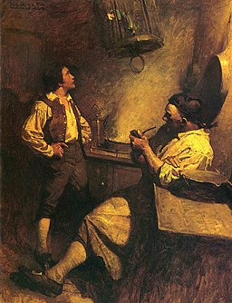 NC Wyeth - Jim Hawkins, Long John Silver and his Parrot