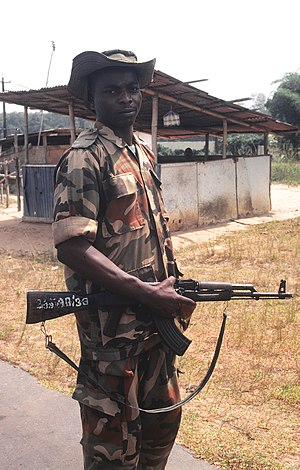 English: Nigerian Army soldier, part of the Ec...
