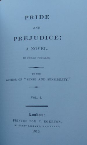 Title page of original edition of Pride and Pr...