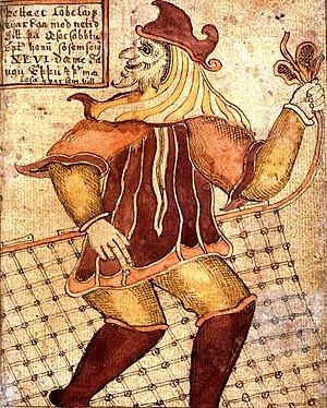 Loki as depicted on an 18th century Icelandic ...