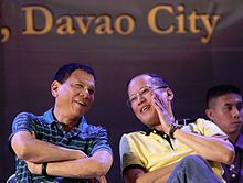 Duterte (left) with President Benigno Aquino III during a meeting with local government unit leaders in Davao City in 2013