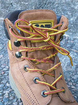 Boot with shoelaces, photo taken in Sweden The...