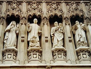 Westminster Abbey, West Door, Four of the ten ...