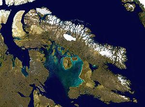 Satellite image of Baffin Island, the Baffin M...