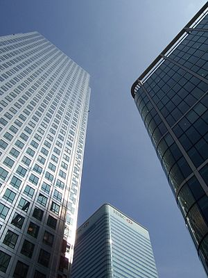 Looking Up To The Canary Wharf Main Buildings