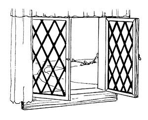 line art drawing of casement.