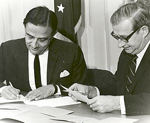 Dr. Vikram Sarabhai and Dr. Paine Sign a Satel...