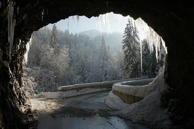 Austrian mountain road, winter.