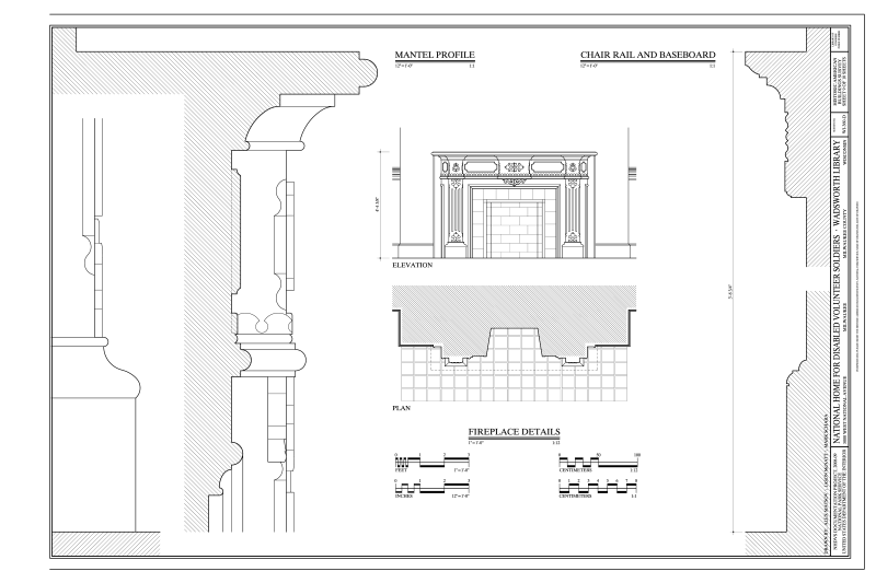 File:Fireplace Details, Mantel Profile and Chair Rail and