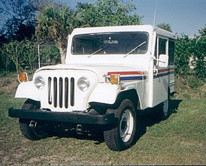 A USPS Mail Delivery vehicle made by Jeep