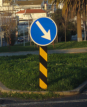 Keep right road sign, Portugal.