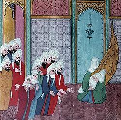 Maomé, nos braços da mãe, Amina, em miniatura turca-cristã, ambos com o rosto velado.