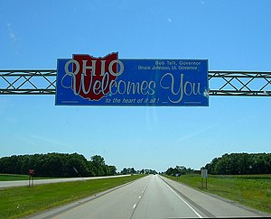 Ohio state welcome sign, along US Route 30, en...