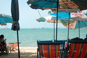 A photo taken from the beach in Pattaya, Thailand.