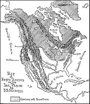 Map of North America during the ice age