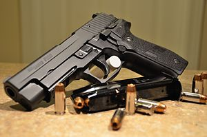 English: .40 SIG Sauer P226, magazine and Winc...