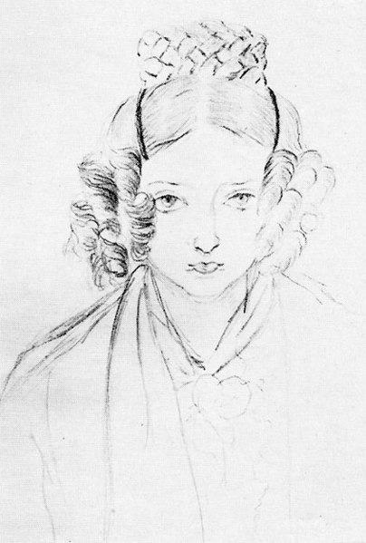 Self-portrait sketch by Princess Victoria of Kent (later Queen of the United Kingdom and Empress of India), 1835.