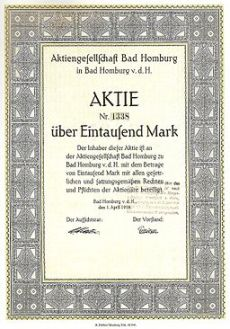 Aktie Aktiengesellschaft Bad Homburg 1918