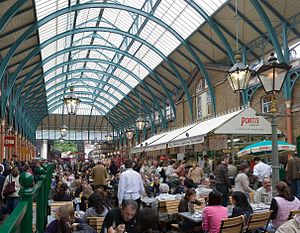 The interior of Convent Garden Market, London.