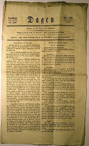 """Avisen """"Dagen"""", 24. juni 1830. Forsiden"""