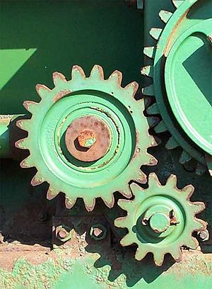 Gears on a piece of farm equipment, gear ratio...