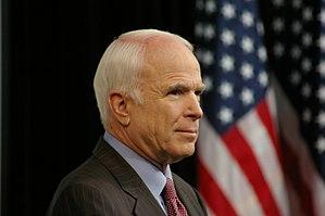 John McCain waits to deliver speech in Denver,...