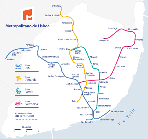 Metro Lisboa Route Map (only with routes in operation)