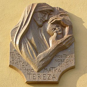 Memorial plaque dedicated to Mother Teresa by ...