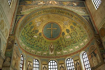 English: The 6th century Byzantine mosaic in t...