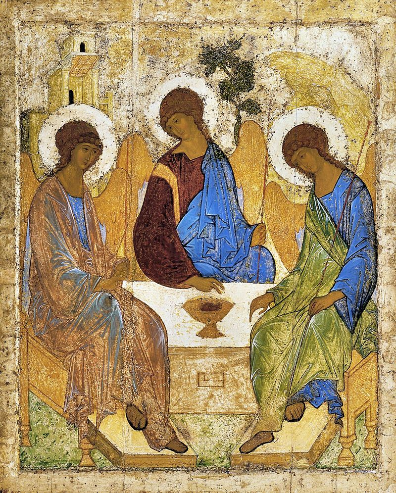 Rublev's icon of three angels around a table, representing the Trinity