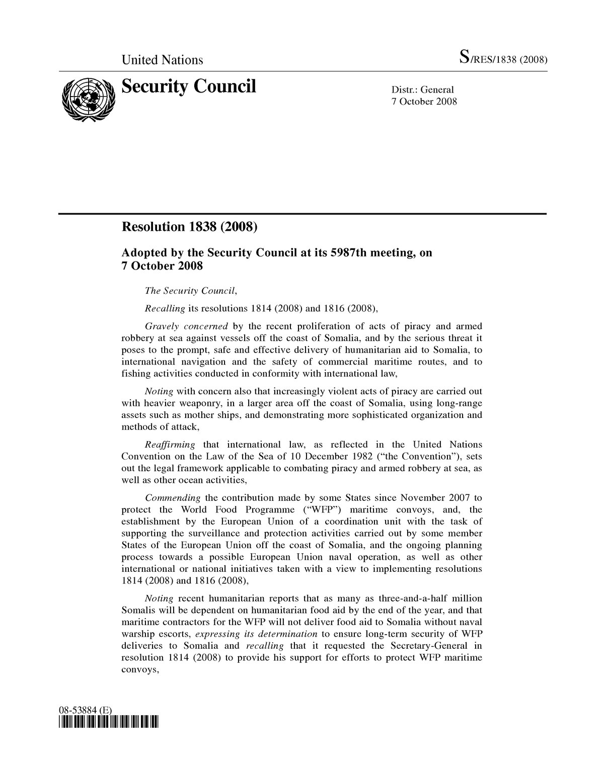 United Nations Security Council Resolution