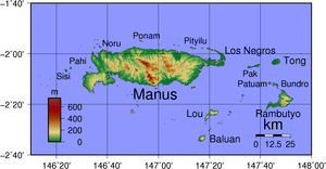 Topographical map of Admiralty Island in Papua...