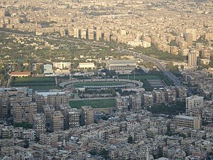 Al-Fayhaa Stadium in Damascus, Syria as seen f...