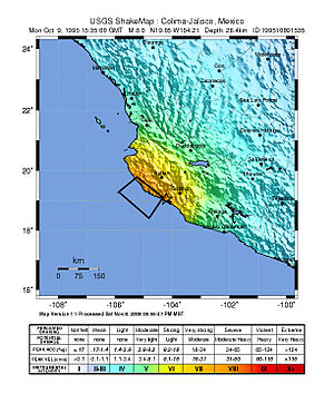 English: Location of the 1995 Colima earthquak...