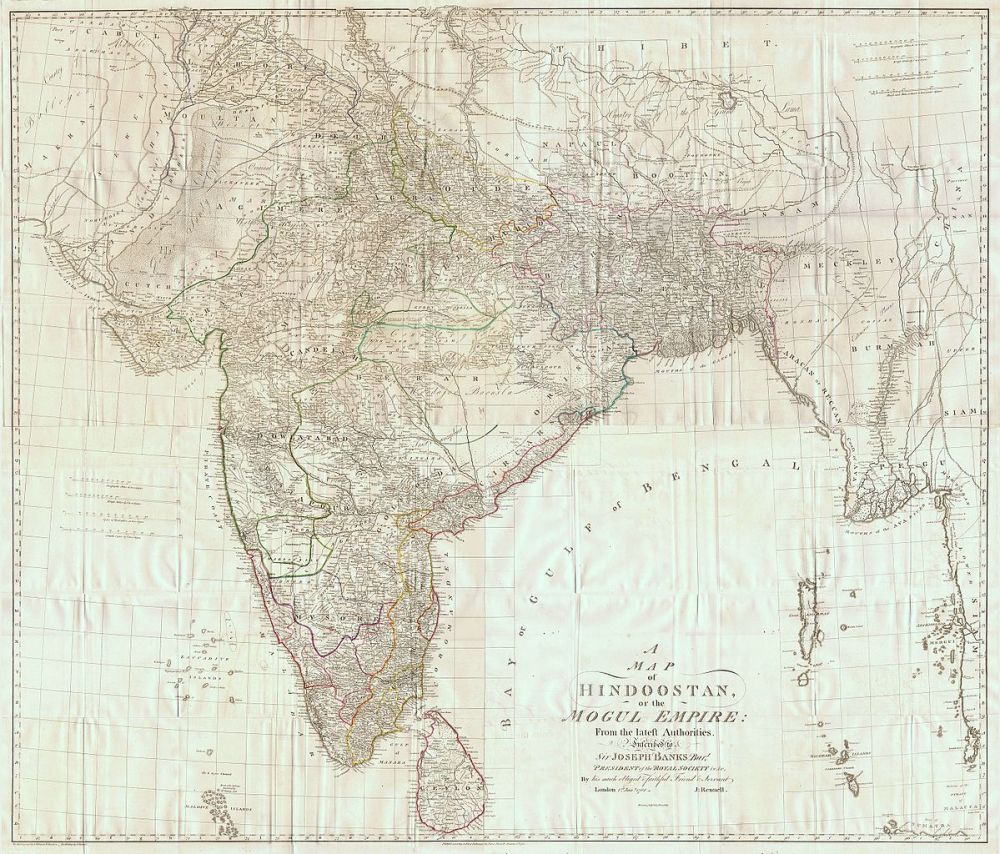 medium resolution of map of british india by james rennell 1788