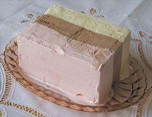 Block of Neapolitan ice cream.