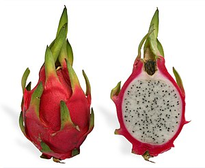 English: A red pitaya (Hylocereus undatus) fru...