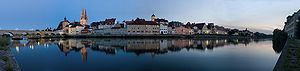 English: Twilight panorama of Regensburg, Germany