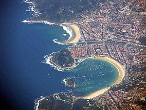 Česky: Letecký pohled na San Sebastian, Španěl...
