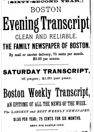 Advertisement, Boston, Massachusetts