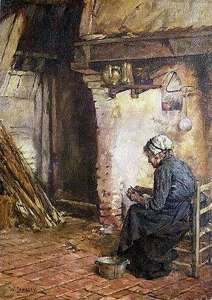 Old Woman Peeling Potatoes
