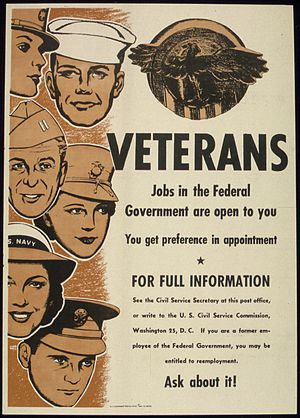 """VETERANS, JOBS IN THE FEDERAL GOVERNMENT..."