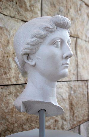 Rome, Ara Pacis museum: cast of a portrait of ...